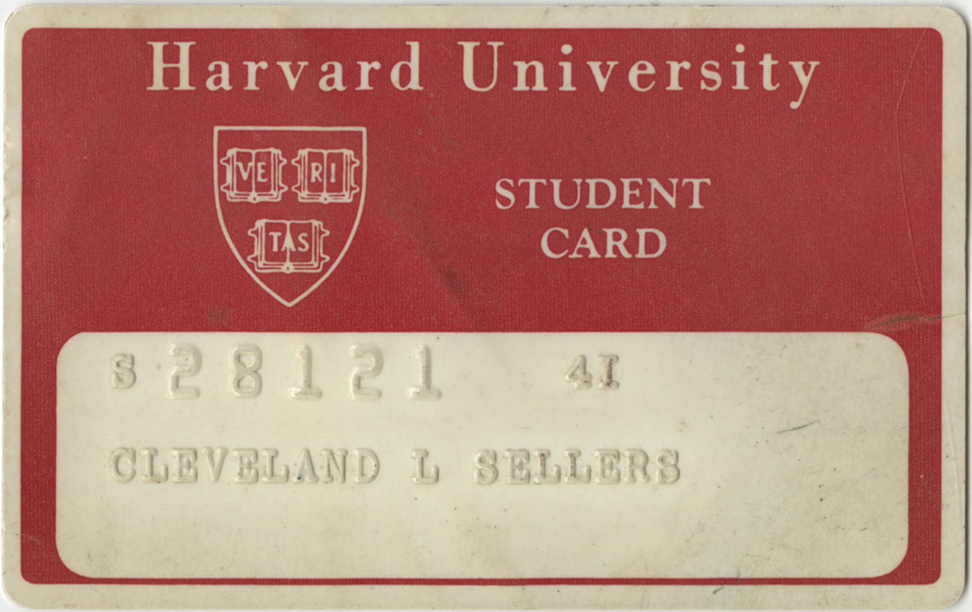 Cleveland Sellers Harvard University Student Card, 1969-70