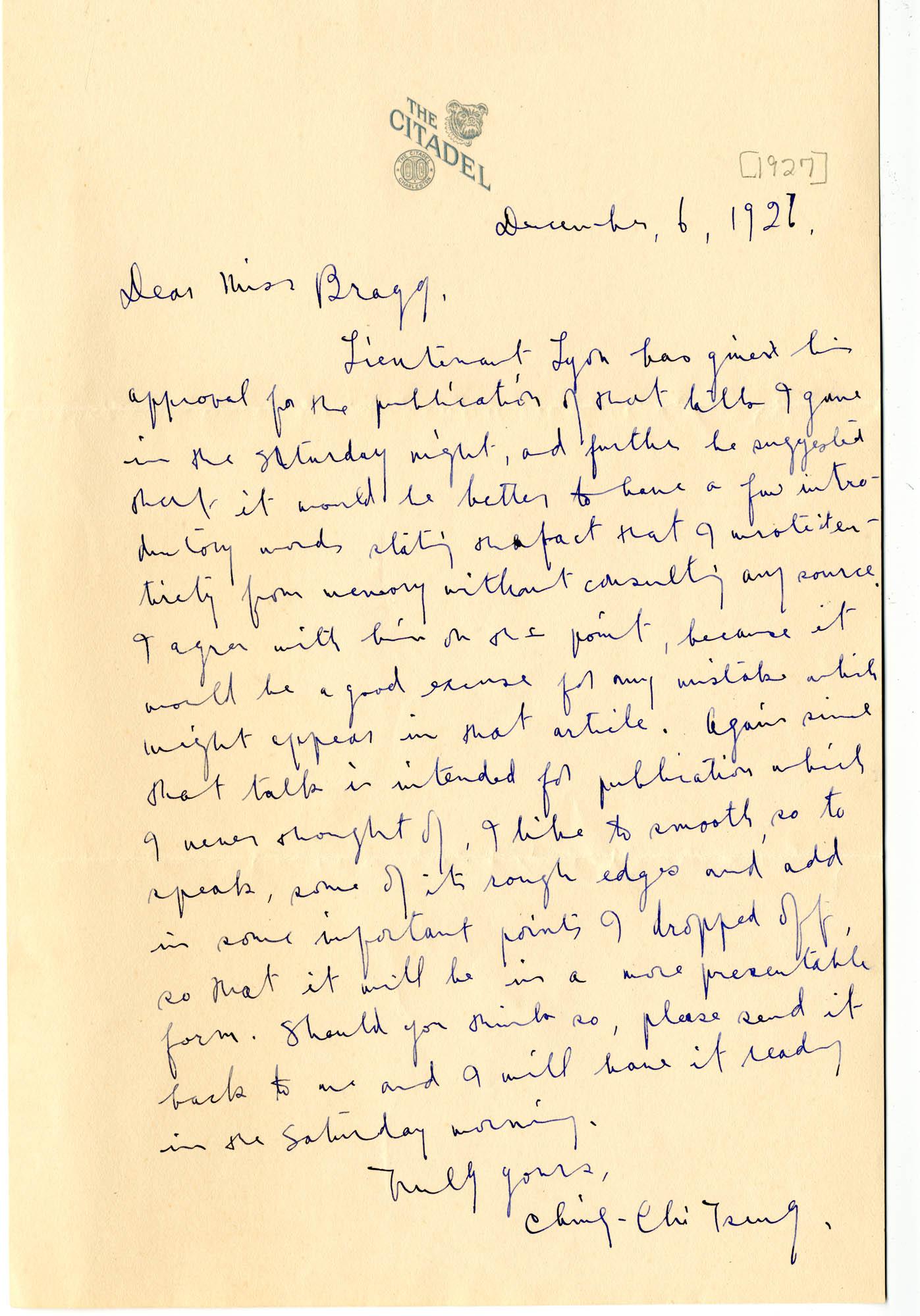 Letter from C.C. Tseng to Laura M. Bragg, December 6, 1926 [1927]
