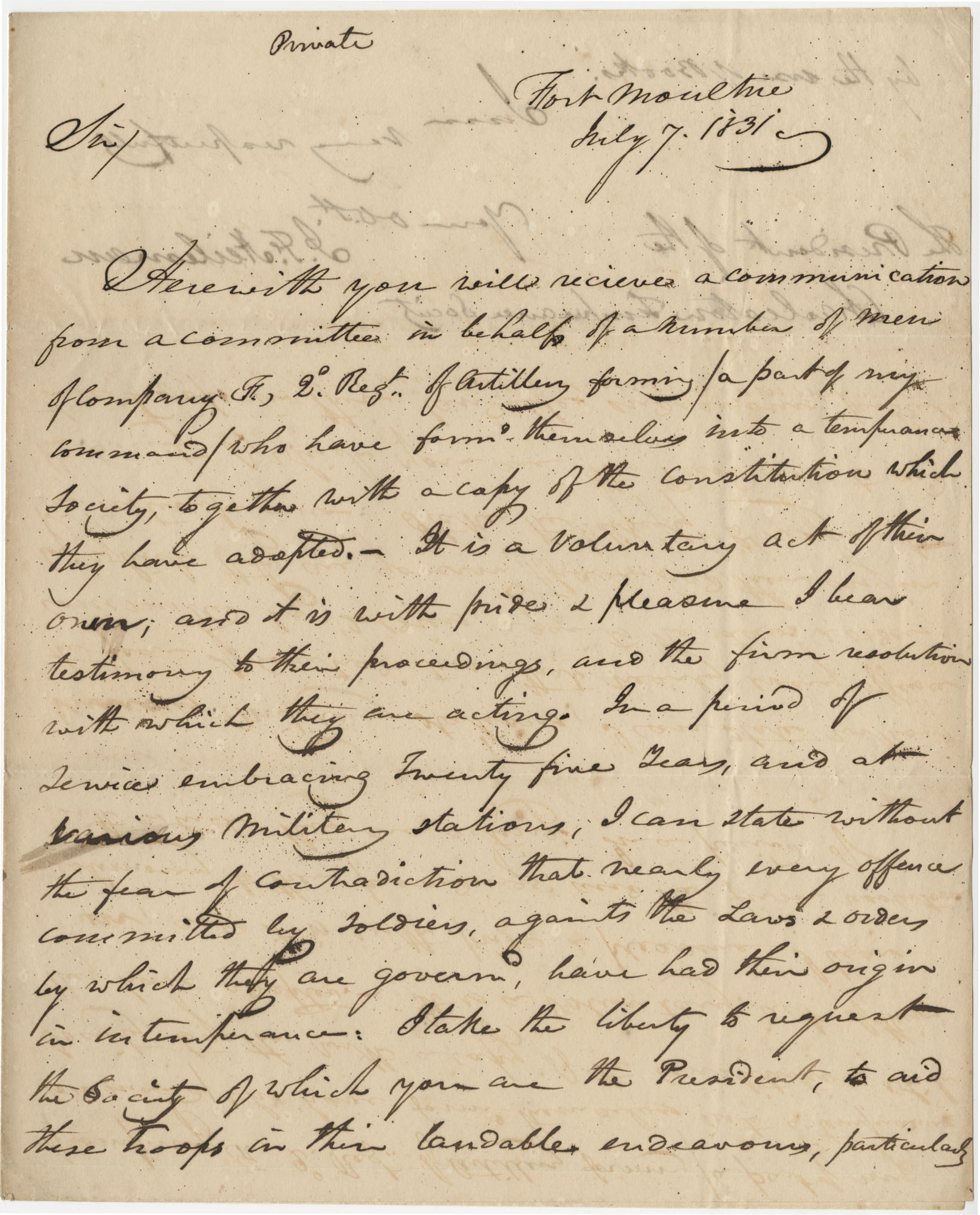 Letter from J.F. Heilman, President of the Charleston Temperance Society, to Thomas S. Grimke, July 7, 1831