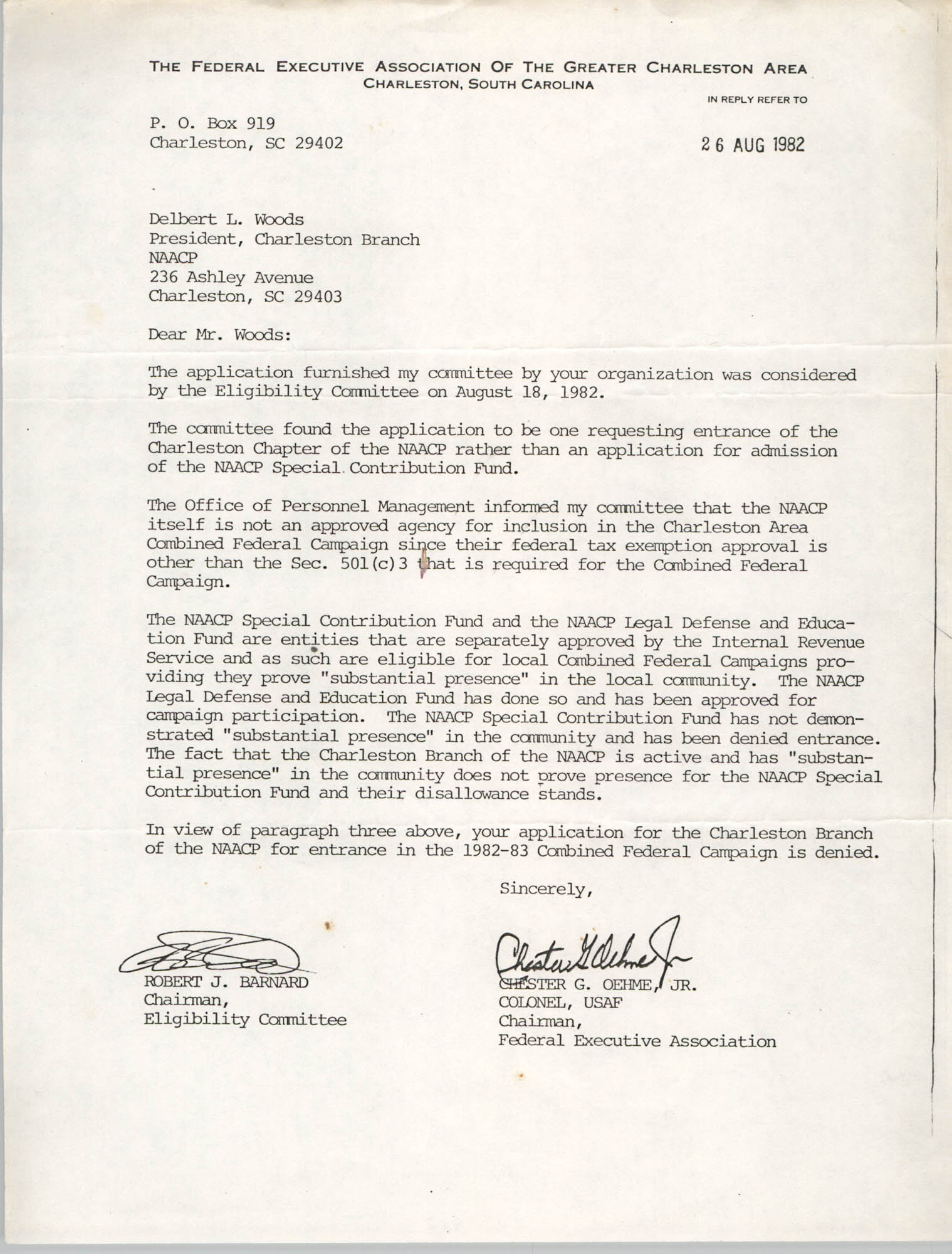 Letter from Robert J. Barnard and Chester G. Oehme, Jr. to Delbert L. Woods, August 26, 1982