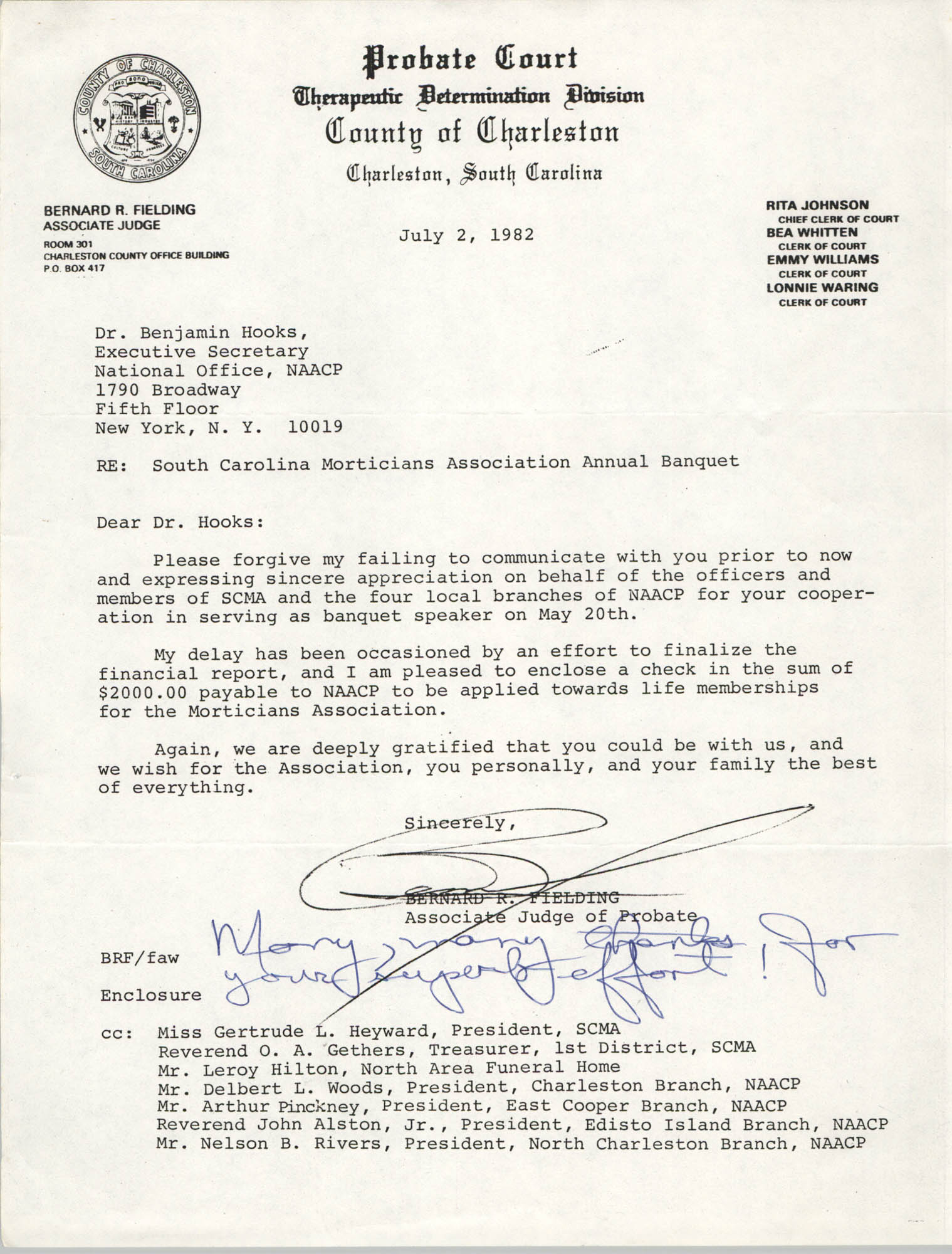 Letter from Bernard R. Fielding to Benjamin Hooks, July 2, 1982
