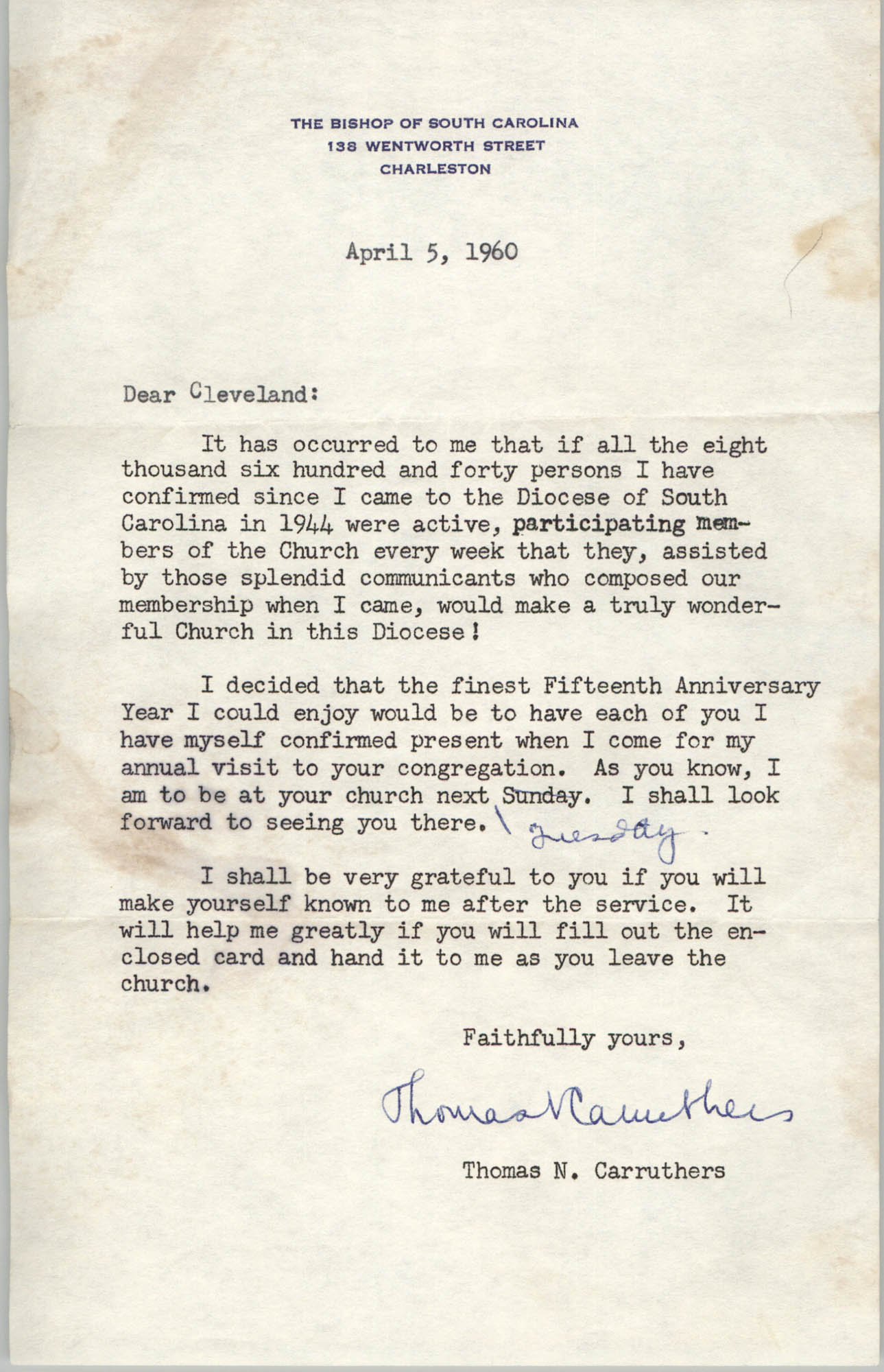Letter from Thomas N. Carruthers to Cleveland Sellers, April 5, 1960