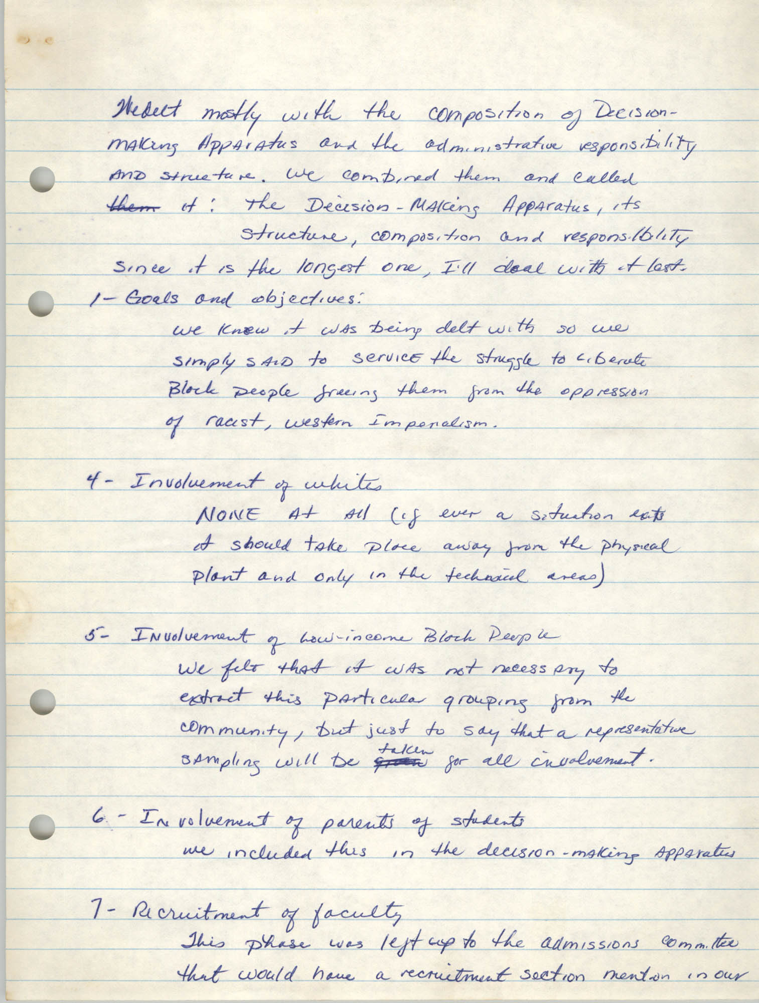 Malcolm X Liberation University Handwritten Notes