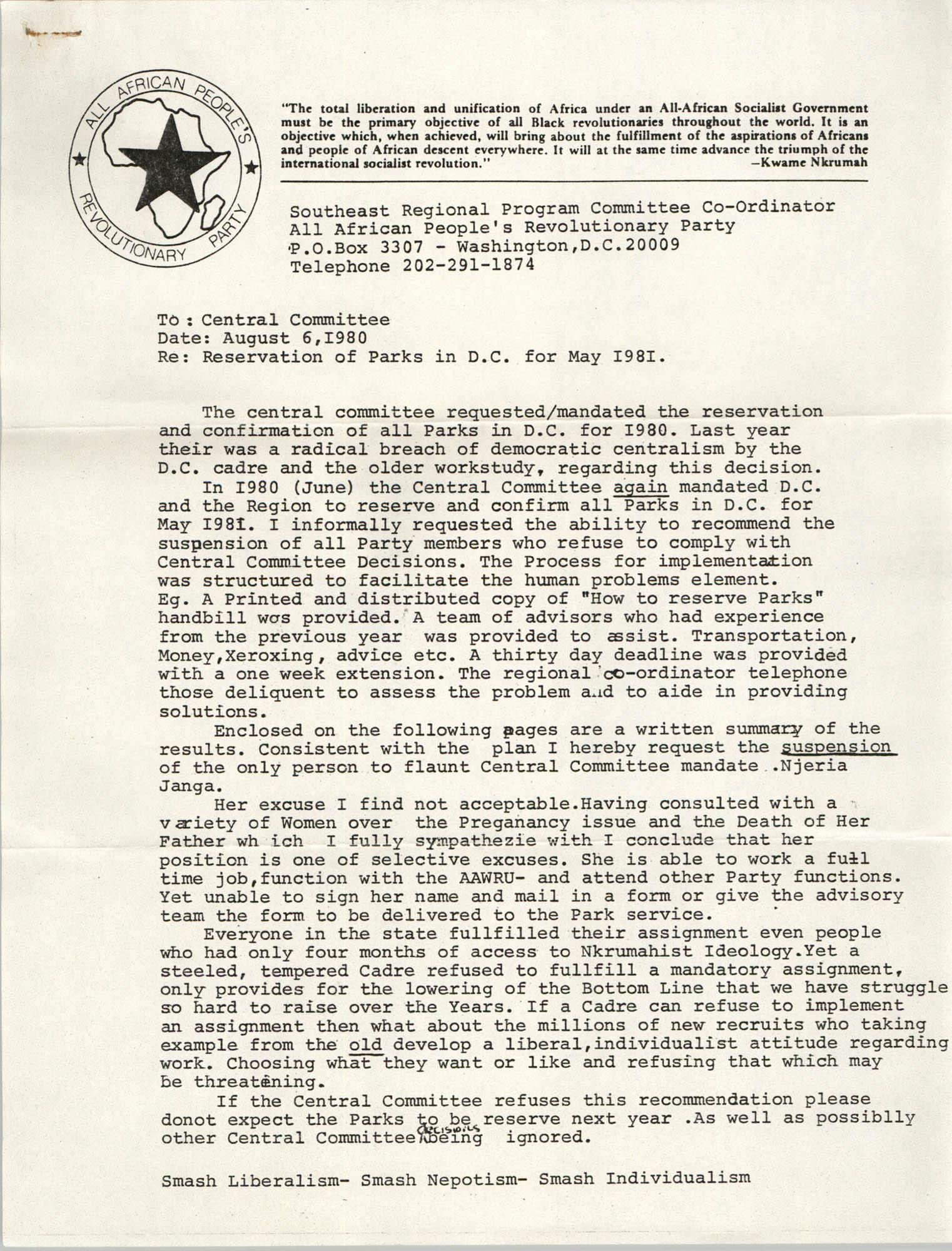All African People's Revolutionary Party Memorandum, May 1981