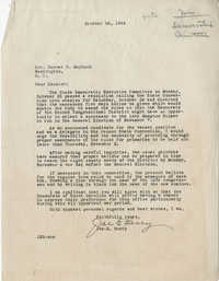 Democratic Committee: Letter from Joe E. Berry to Senator Burnet R. Maybank, October 26, 1944