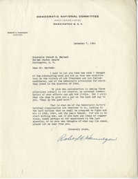 Democratic Committee: Letter from Robert E. Hannegan (Chairman of the Democratic National Committee) to Senator Burnet R. Maybank, December 7, 1944