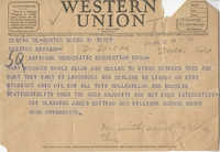 Democratic Committee: Telegram from Sumter, South Carolina to Senator Burnet R. Maybank, July 19, 1944