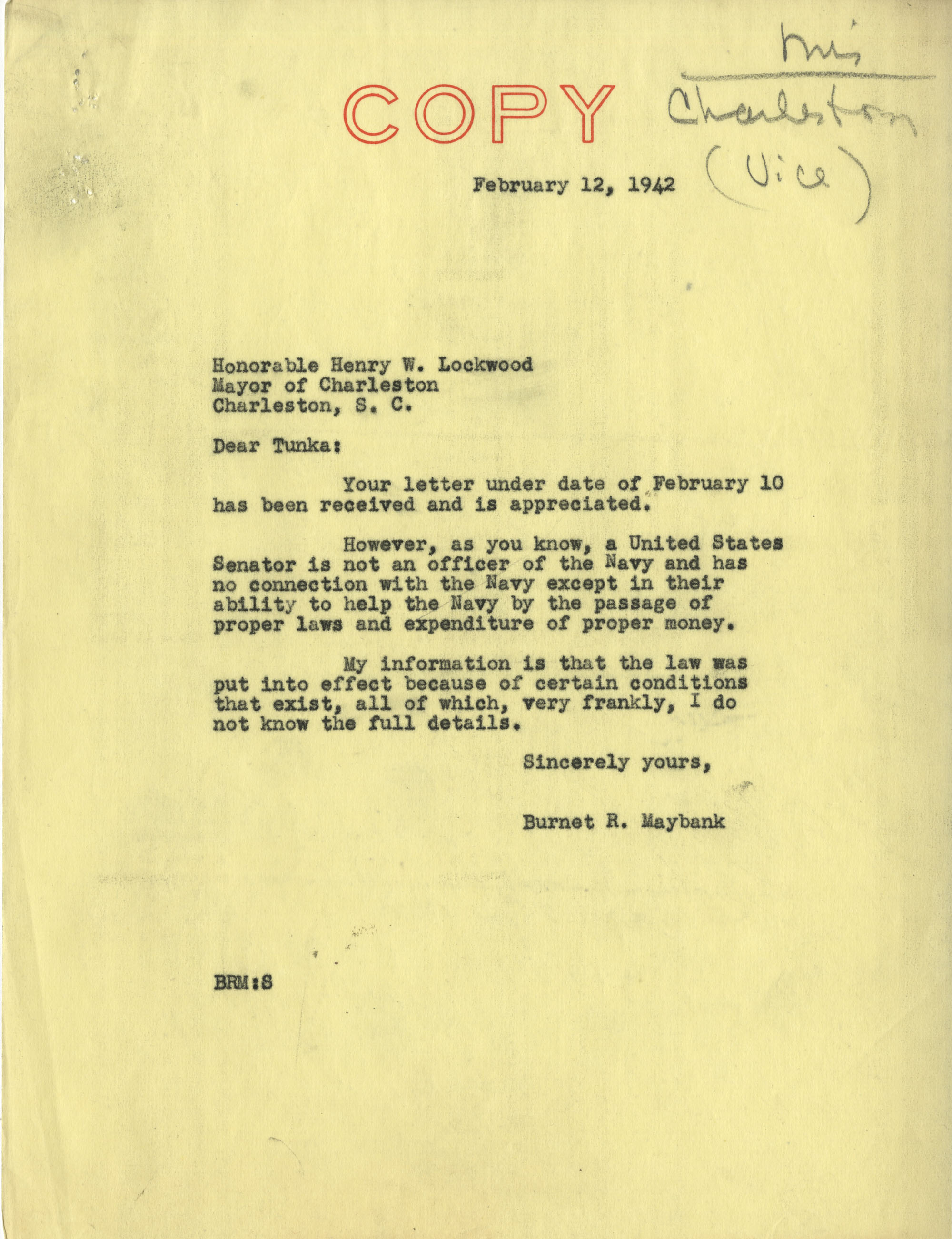 Charleston Vice: Correspondence between Charleston Mayor Henry W. Lockwood and Senator Burnet R. Maybank, February 1942