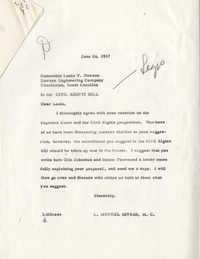 Correspondence between Louis Y. Dawson and Representative L. Mendel Rivers, June 1957
