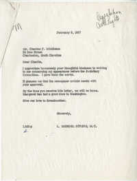 Correspondence between Charles F. Middleton and Representative L. Mendel Rivers, February 1957