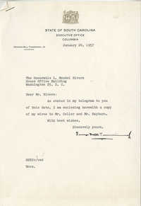 Letter from South Carolina Governor George Bell Timmerman, Jr. to Representative L. Mendel Rivers, January 24, 1957