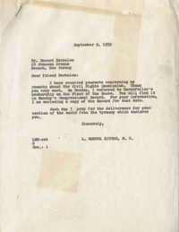Correspondence between Howard Berkelen and Representative L. Mendel Rivers, September 8, 1959