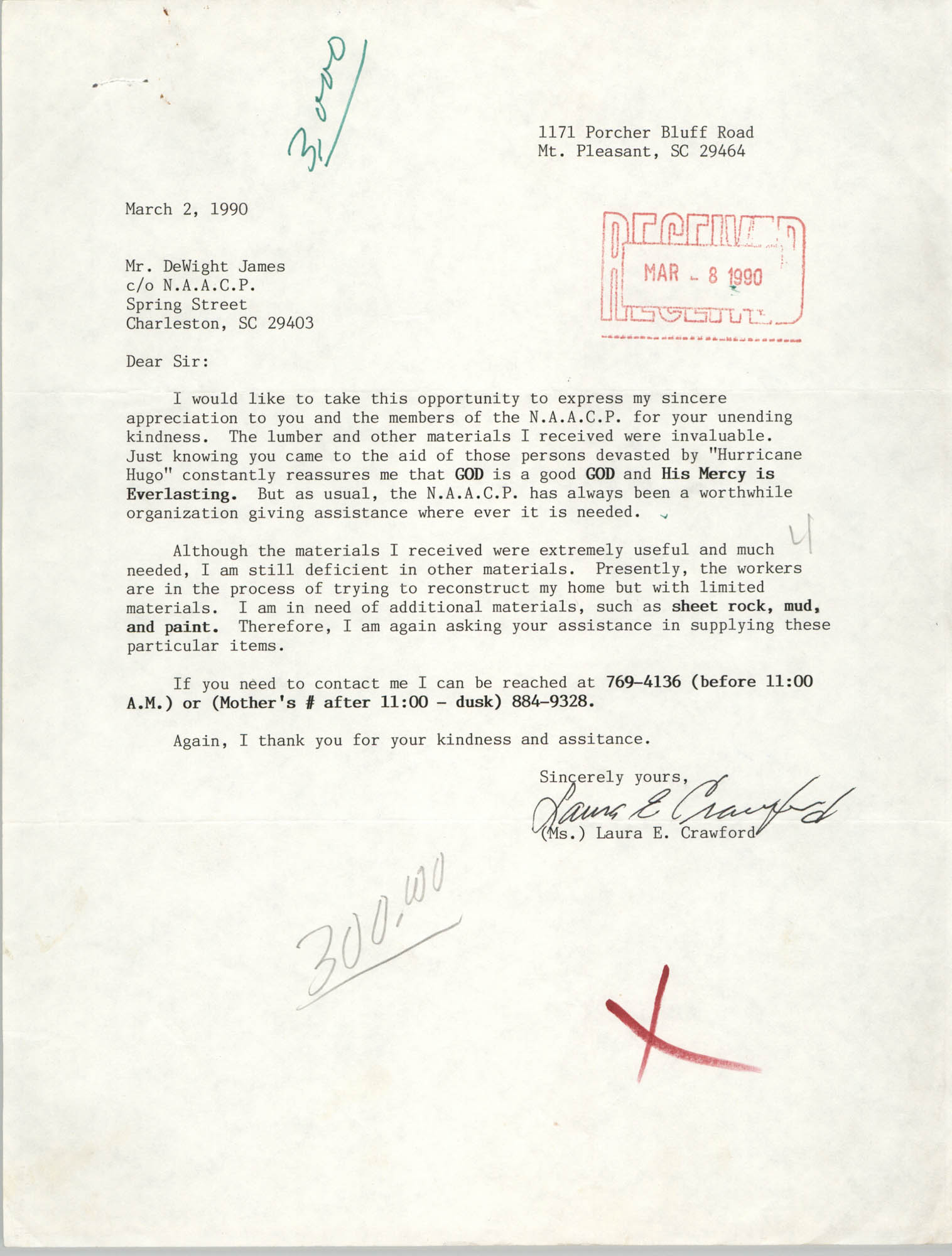 Letter from Laura E. Crawford to DeWight James, March 2, 1990