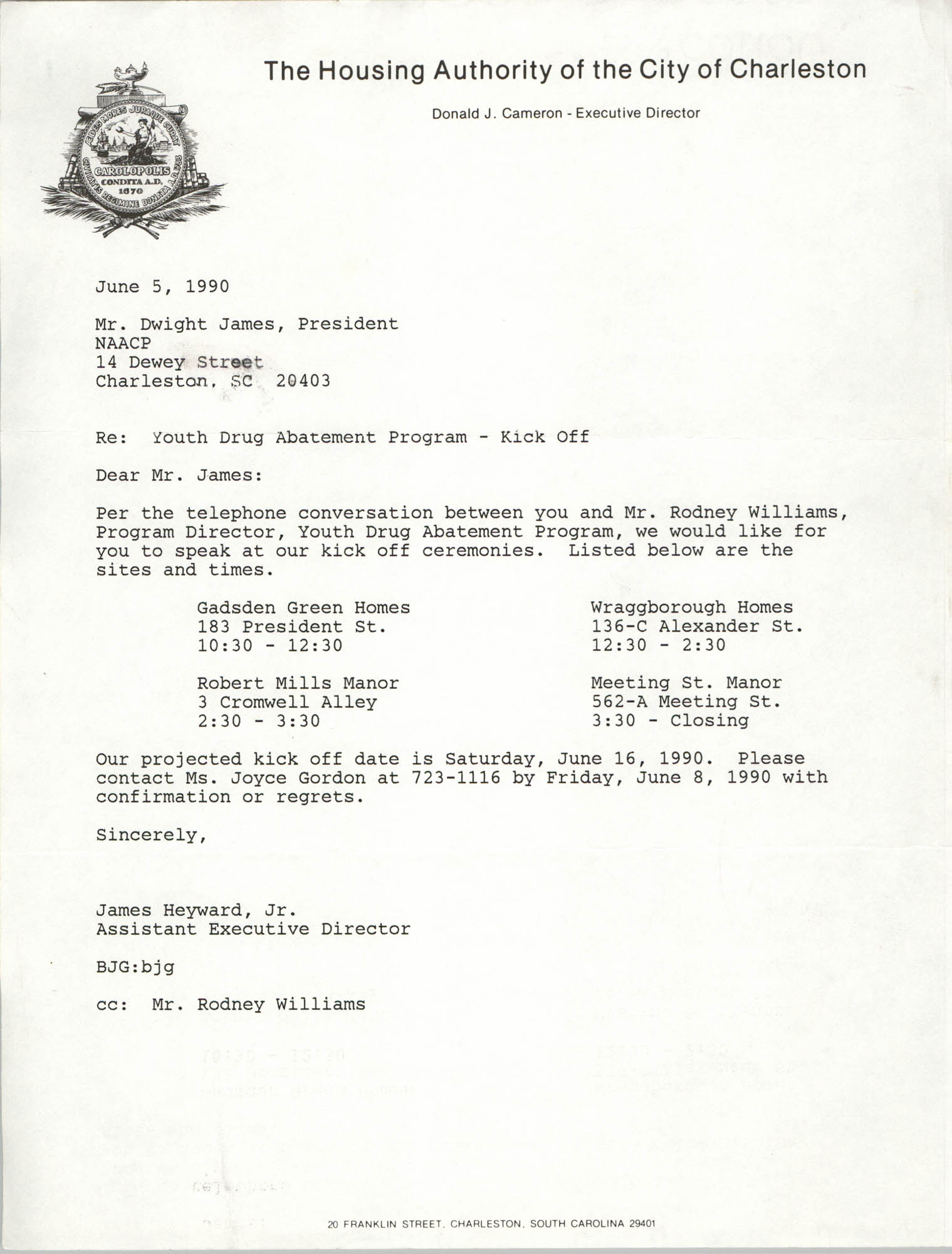 Letter from James Heyward, Jr. to Dwight James, June 5, 1990