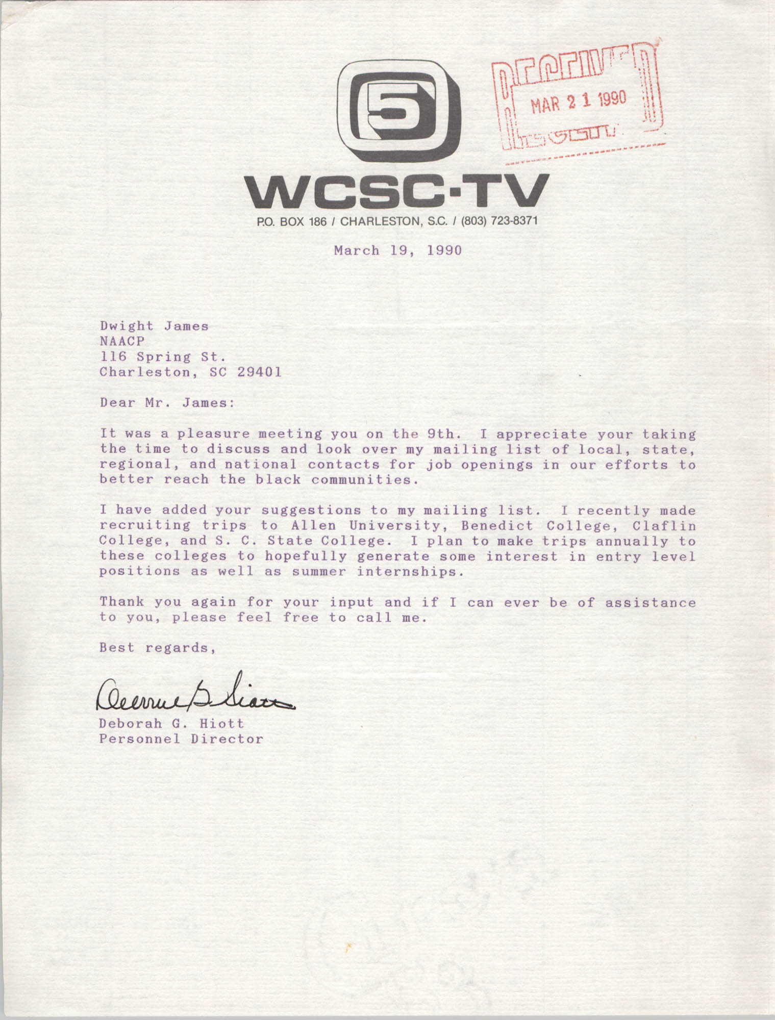 Letter from Deborah G. Hiott to Dwight James, March 19, 1990
