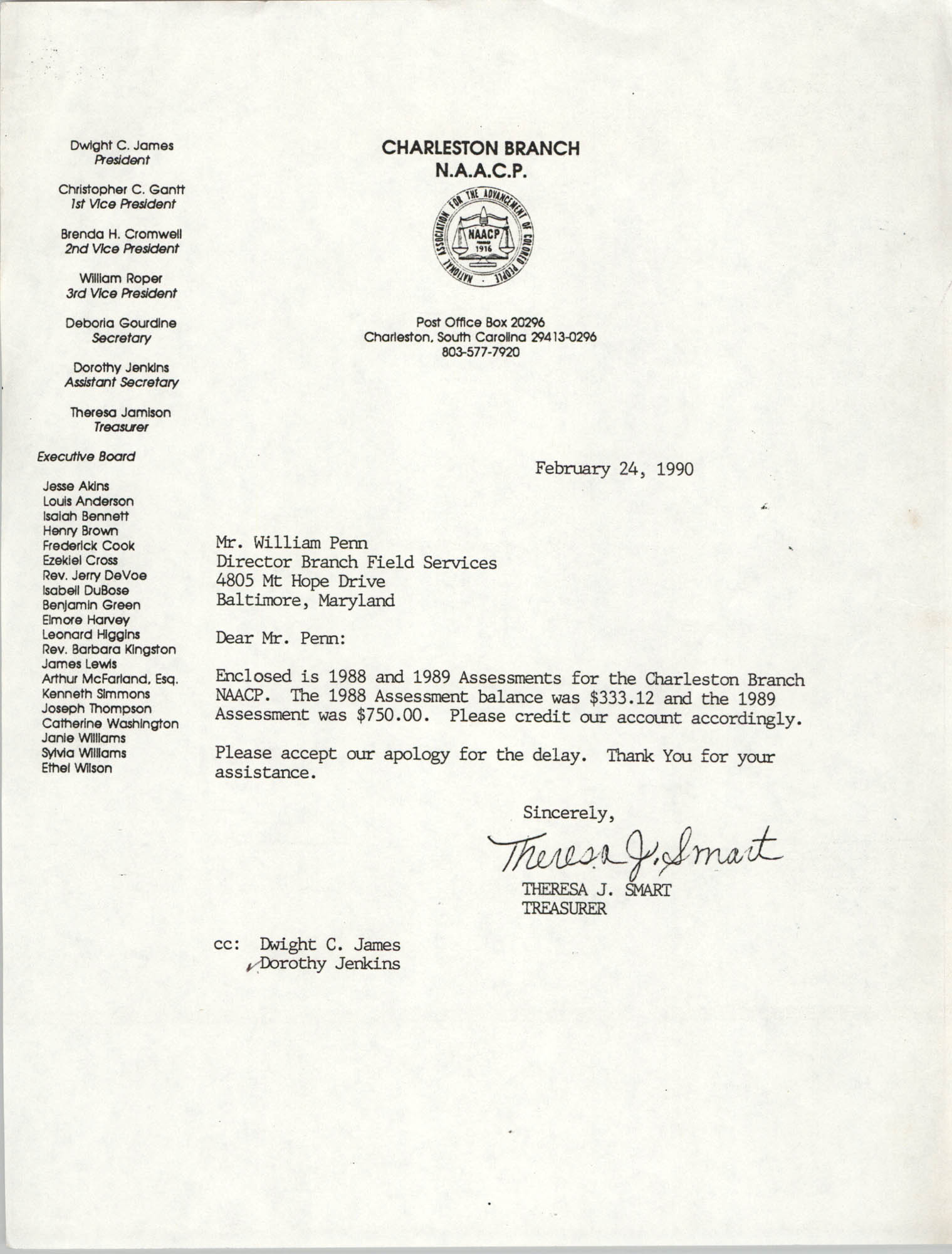 Letter from Theresa J. Smart to William Penn, February 24, 1990