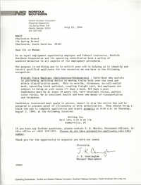 Letter from J. K. Cunningham to Charleston Branch of the NAACP, July 23, 1990