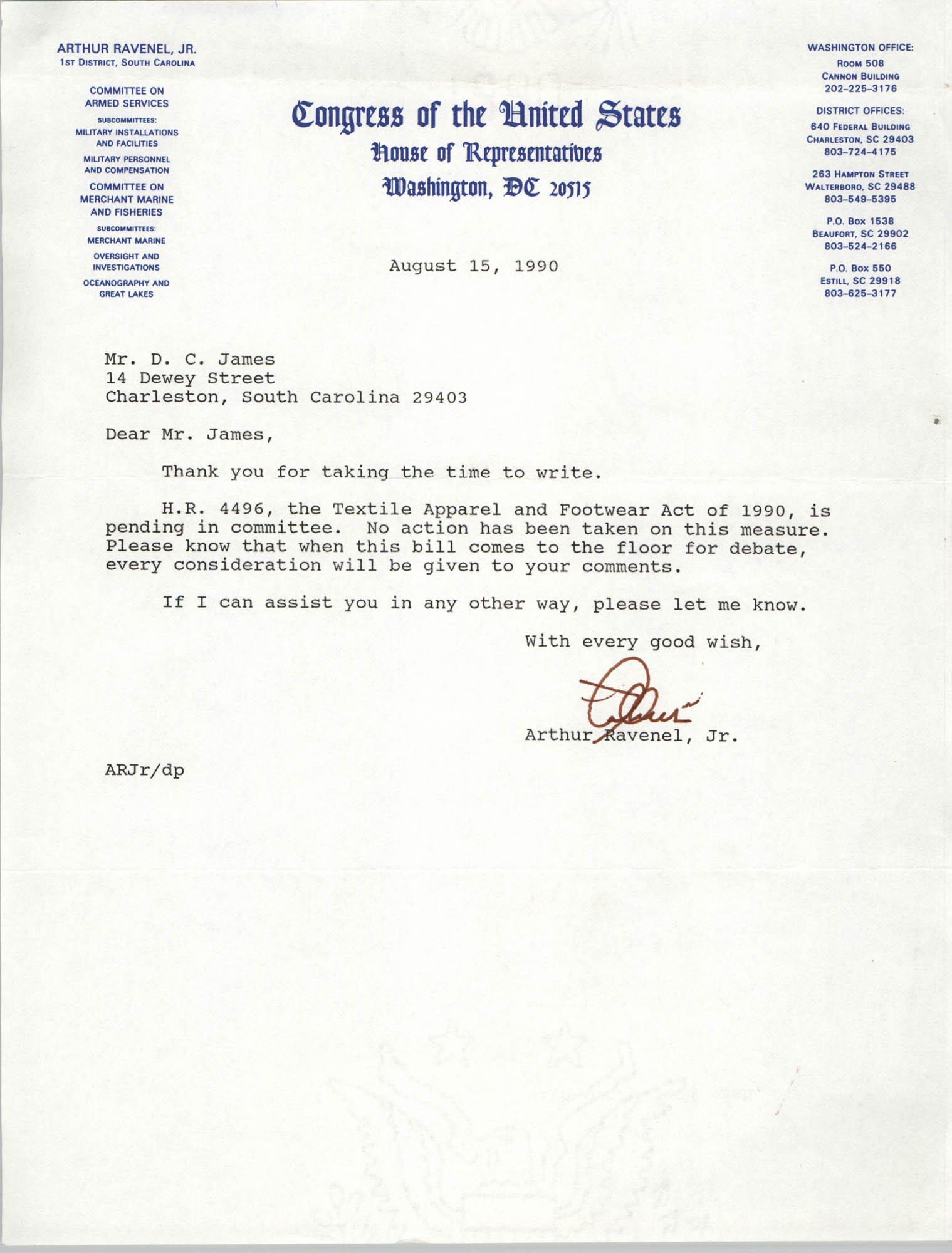 Letter from Arthur Ravenel, Jr. to Dwight C. James, August 15, 1990