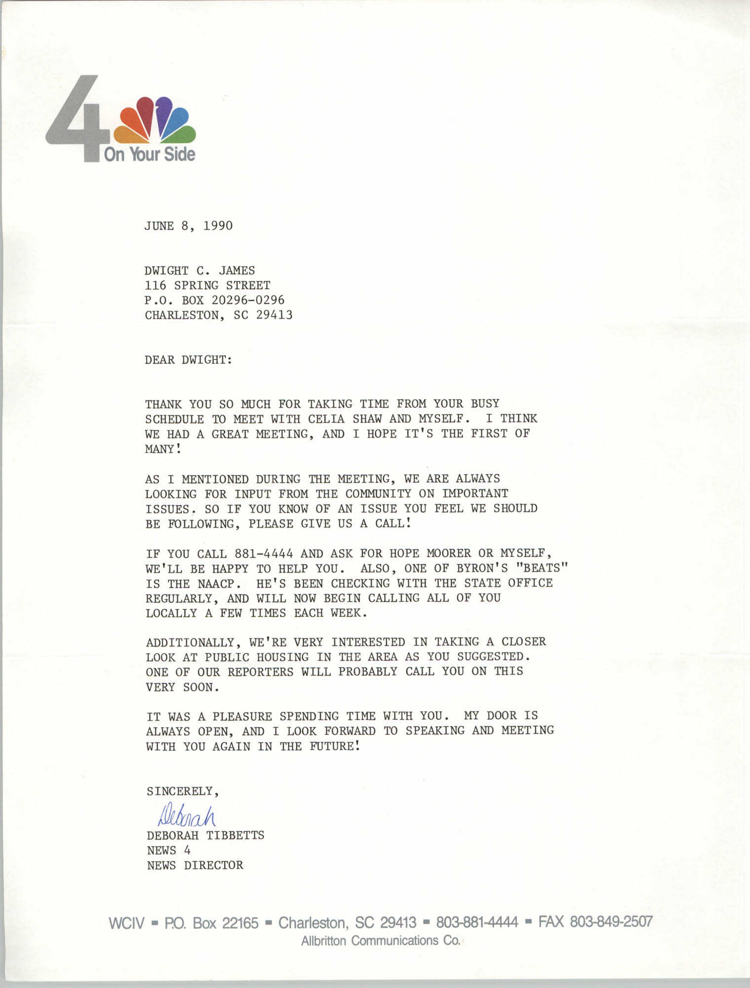 Letter from Deborah Tibbetts to Dwight C. James, June 8, 1990