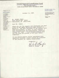 Letter from Paula E. Bonds to Dwight James, October 11, 1989