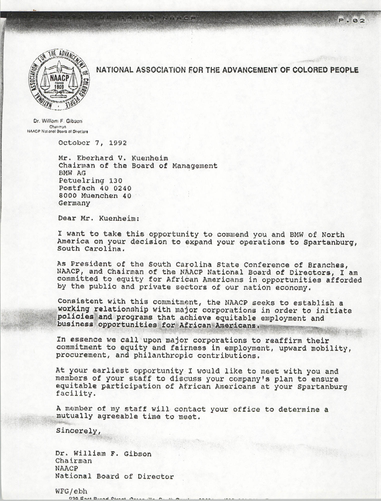Letter from William F. Gibson to Eberhard V. Kuenheim, October 7, 1992