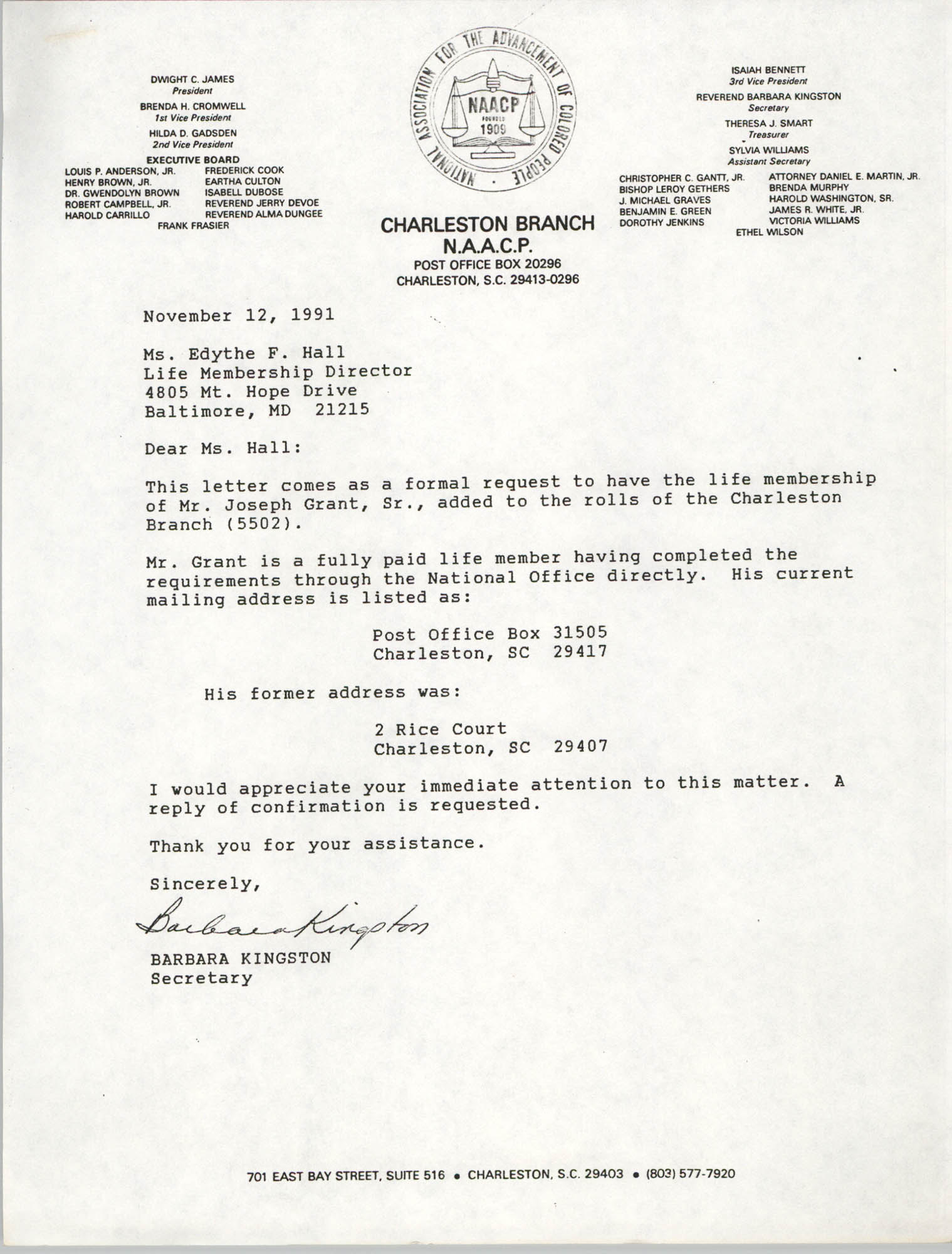 Letter from Barbara Kingston to Edythe F. Hall, November 12, 1991