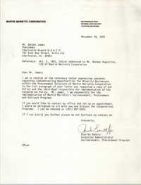 Letter from Charles Mathis to Dwight James, November 26, 1991