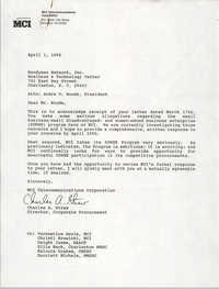 Letter from Charles A. Straw to Andre V. Woods, April 1, 1992