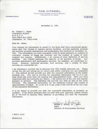 Letter from William D. Brady, Jr. to Dwight C. James, November 21, 1991