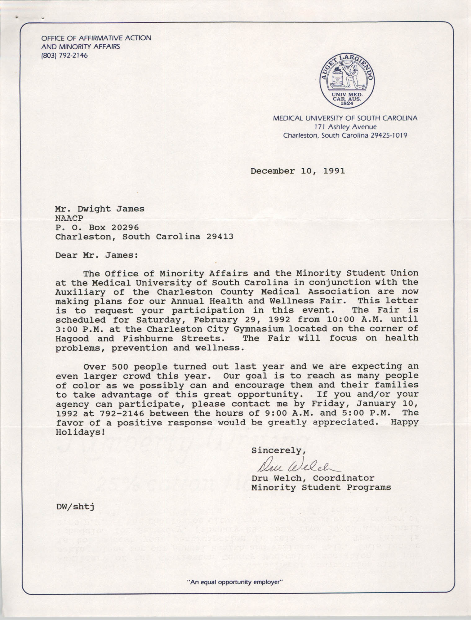 Letter from Dru Welch to Dwight James, December 10, 1991