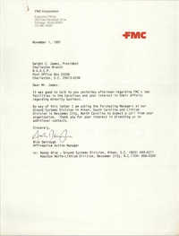 Letter from Nick Derrough to Dwight C. James, November 1, 1991