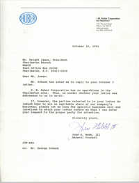 Letter from John G. Webb, III to Dwight James, October 18, 1991