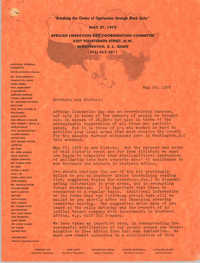 Letter from Cleveland Sellers to African Liberation Day Coordinating Committee, May 29, 1972