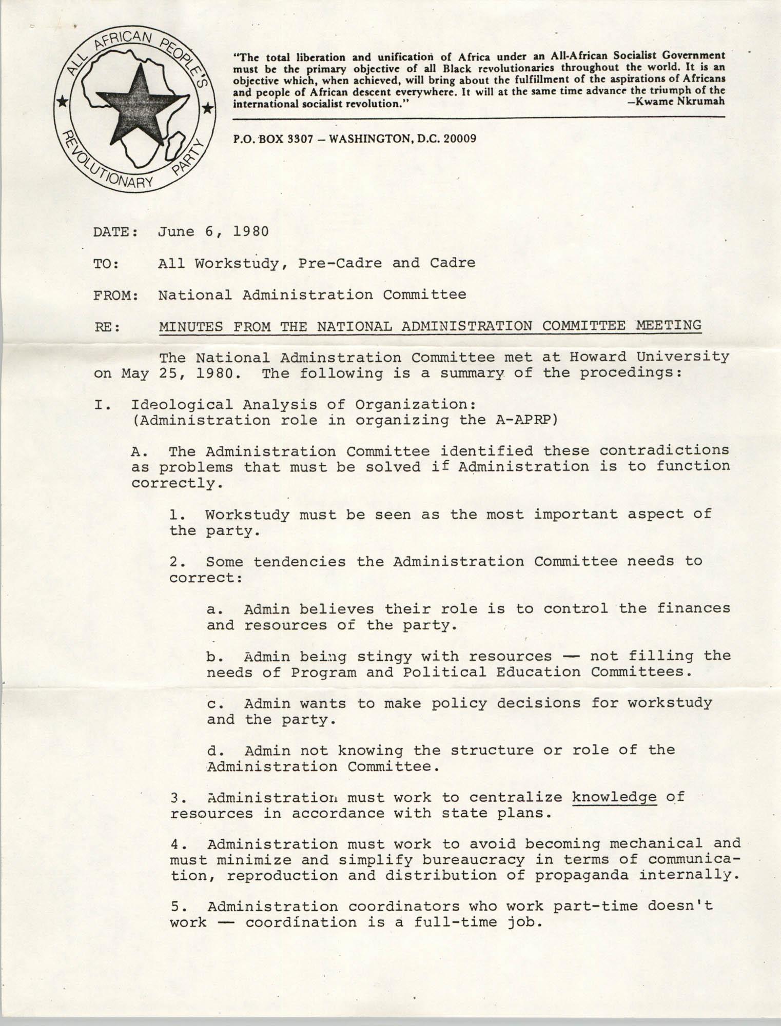 All African People's Revolutionary Party Memorandum, June 6, 1980