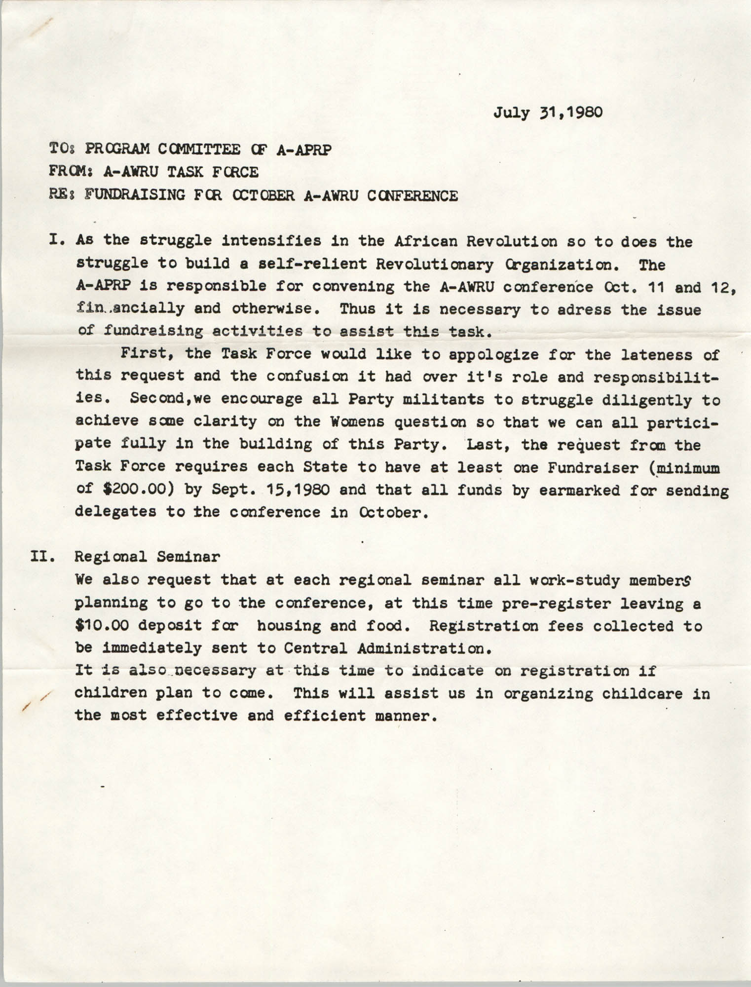 All African People's Revolutionary Party Memorandum, July 31, 1980