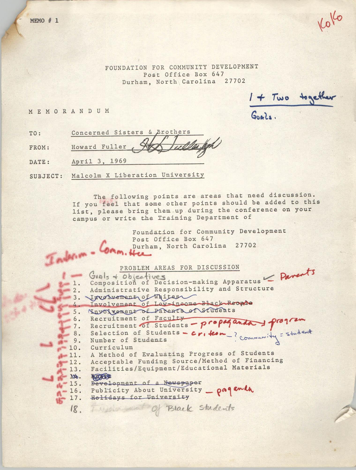 Malcolm X Liberation University Memorandum, April 3, 1969