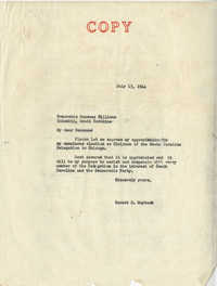 Democratic Committee: Letter from Senator Burnet R. Maybank to Randome Williams, July 13, 1944