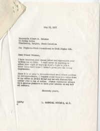 Correspondence between Albert H. Balzano and Representative L. Mendel Rivers, May 1957