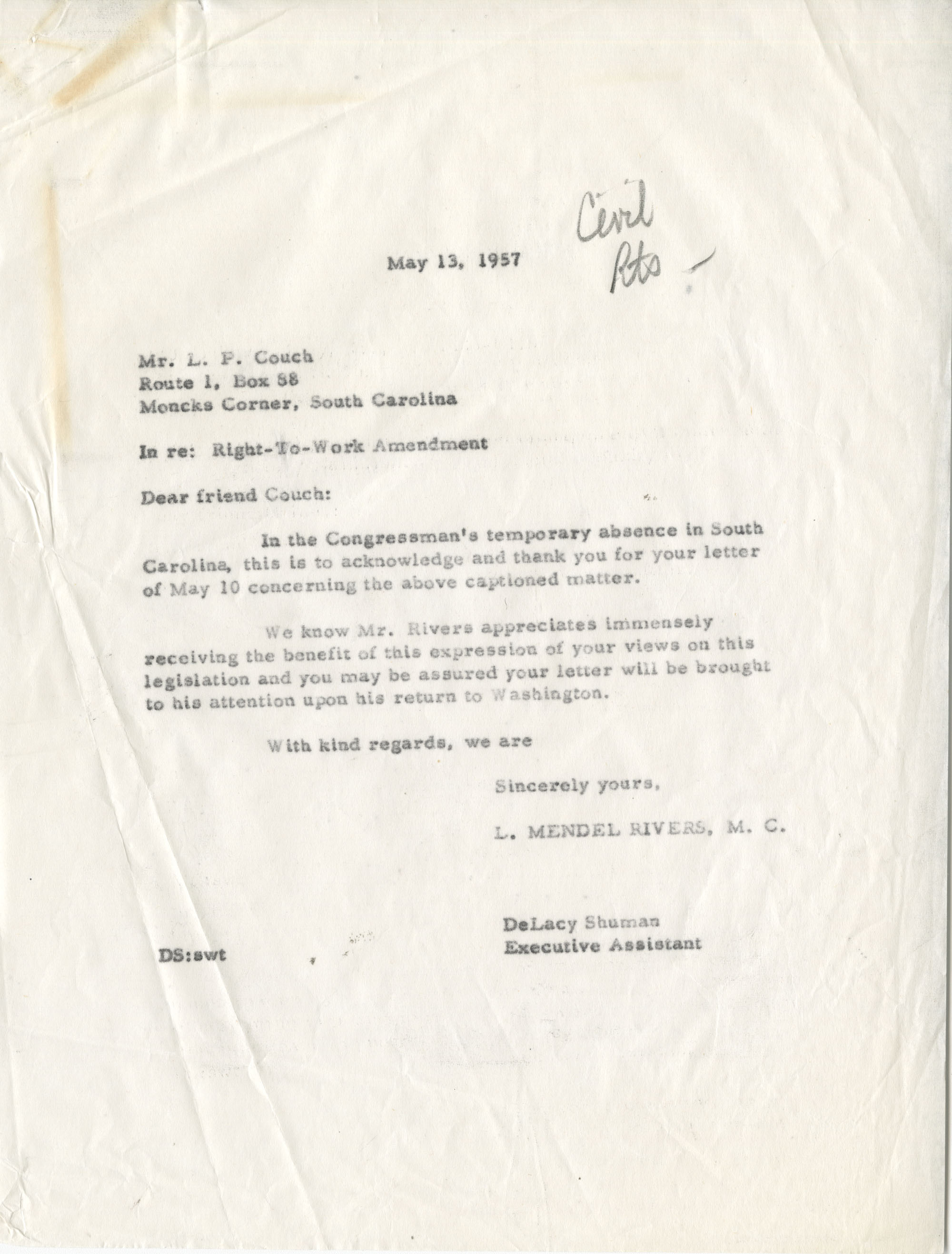 Letter from L. P. Couch to Representative L. Mendel Rivers, May 13, 1957