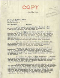 Democratic Committee: Letter from Senator Burnet R. Maybank to M. B. Barkley, June 17, 1944