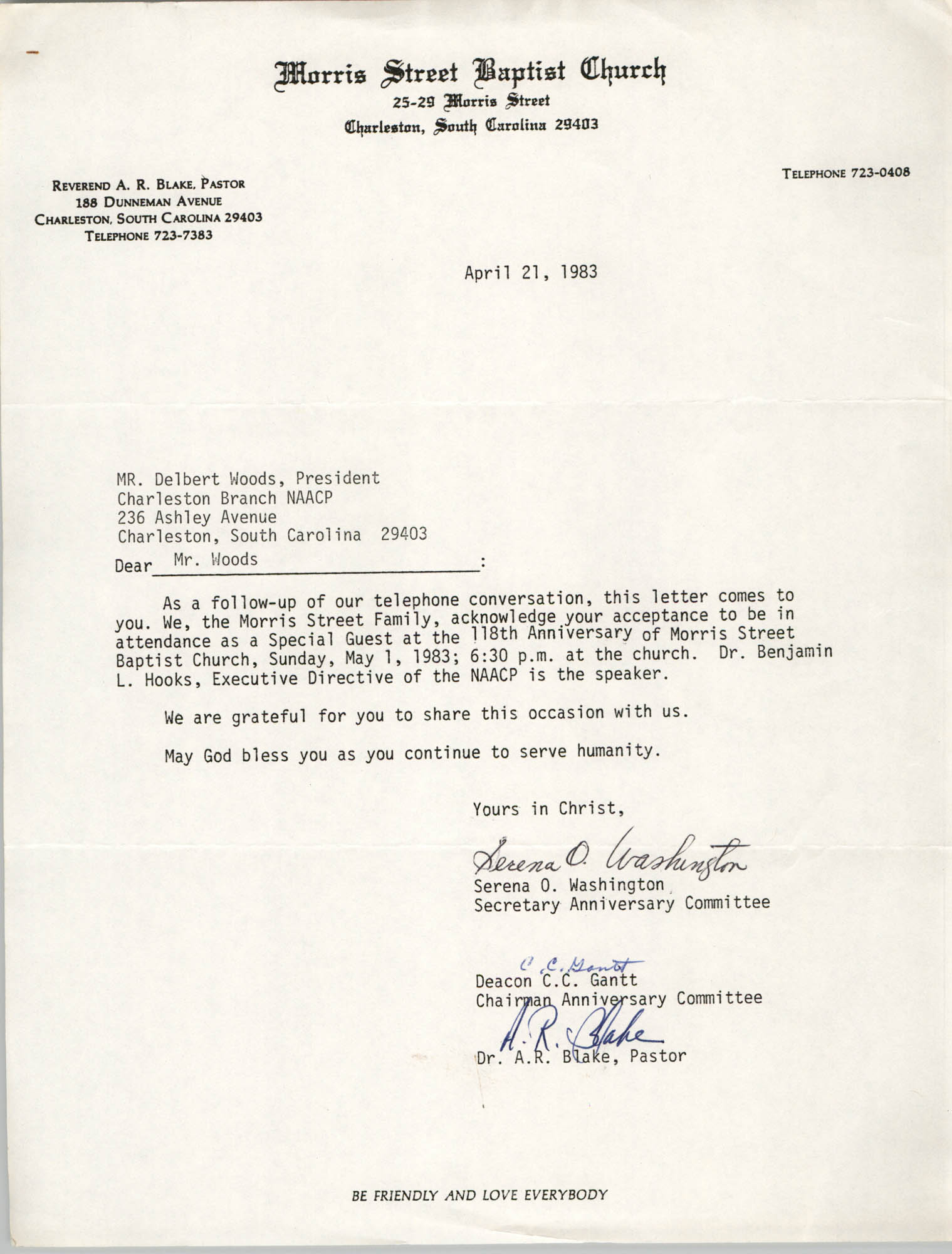 Letter from Serena O. Washington, Deacon C.C. Gantt, and A.R. Blake, April 21, 1983