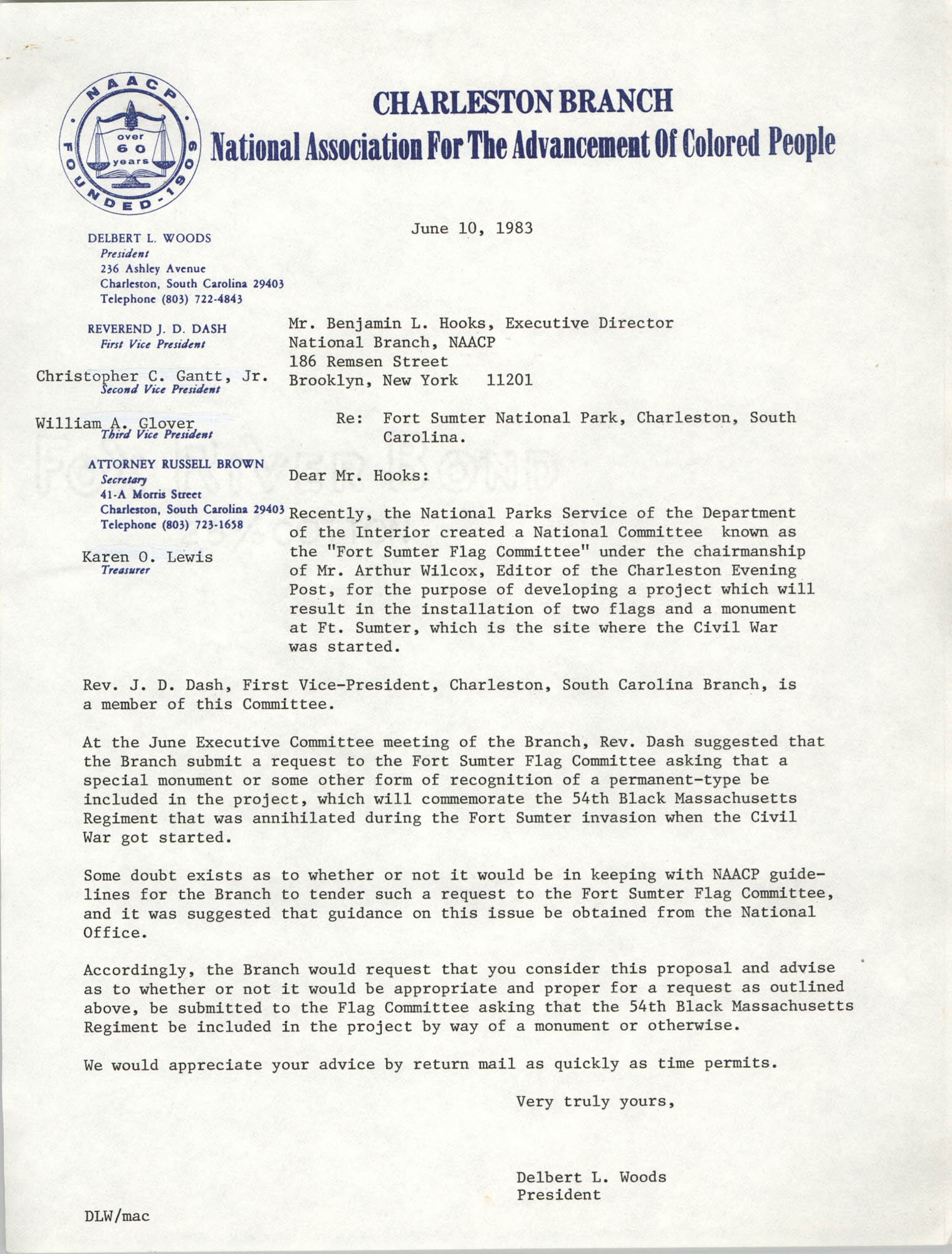 Letter from Delbert L. Woods to Benjamin L. Hooks, June 10, 1983