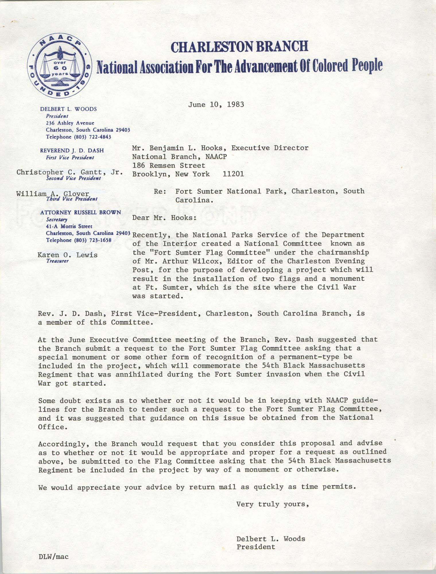 Letter from Delbert L. Woods to Benjamin L. Hooks, June 10, 1983