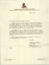 Letter from Vandell Davis to Regional Selection Committee Members, June 8, 1983