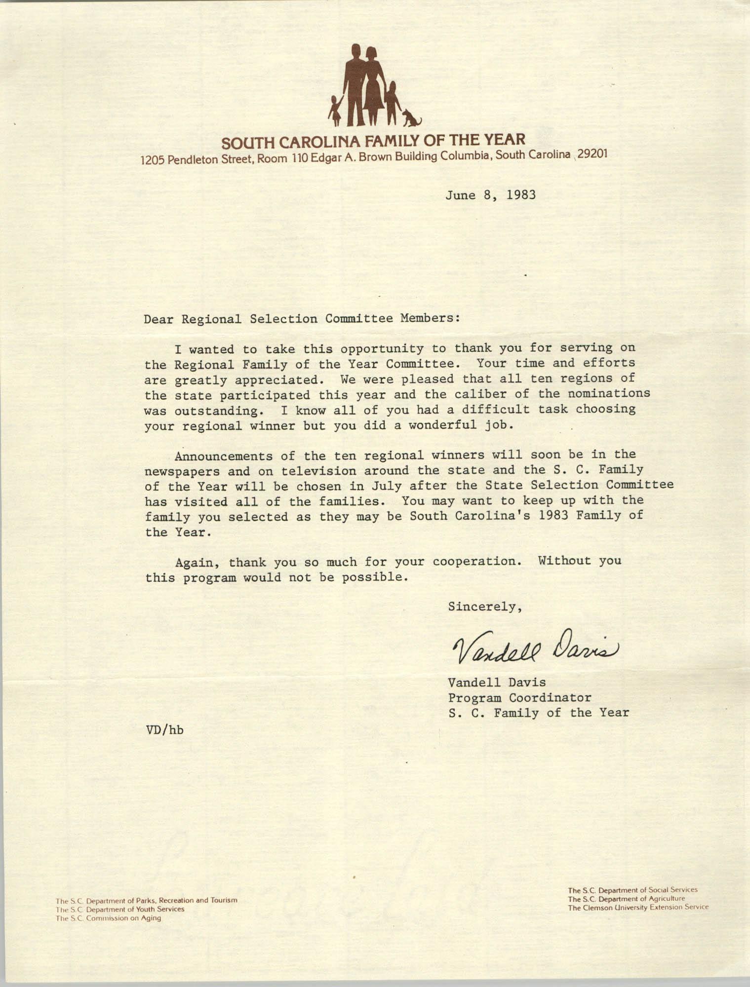 Letter from Vandell Davis to Regional Selection Committee Members, June 8, 1983