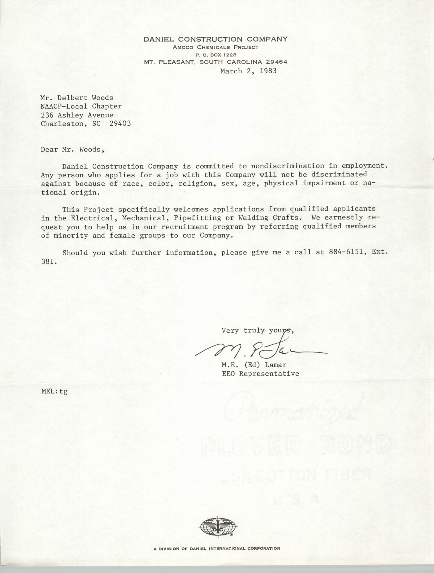 Letter from M. E. Lamar to Delbert Woods, March 2, 1983