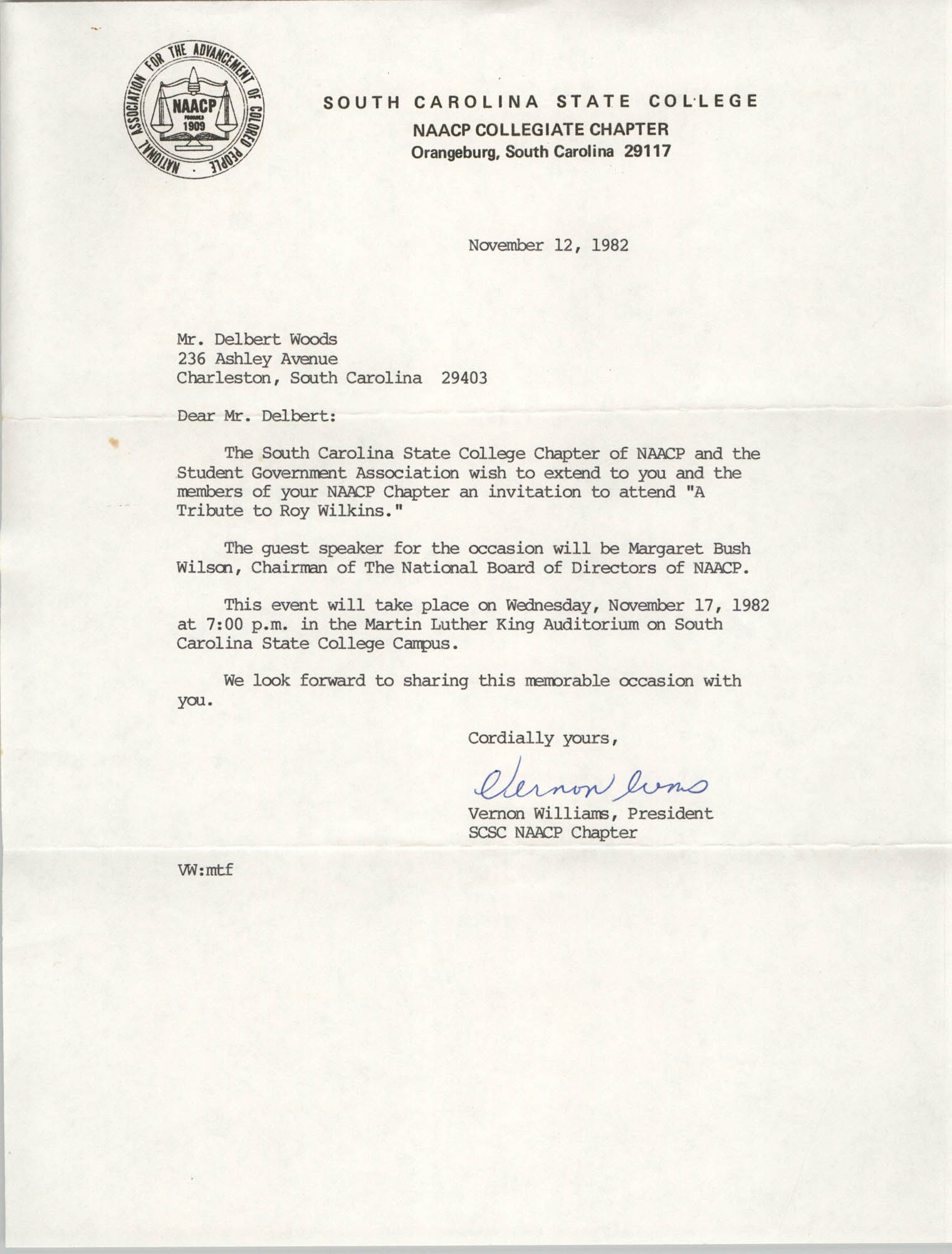 Letter from Vernon Williams to Delbert Woods, November 12, 1982