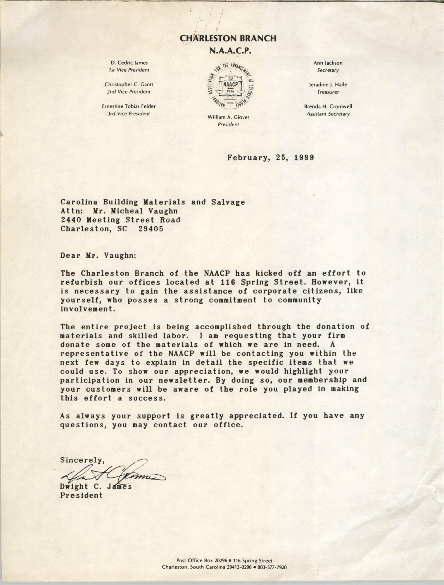 Letter from Dwight C. James to Carolina Building Materials and Salvage, February 25, 1989