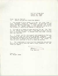 Letter from K. W. Merritt to Health and Welfare Committee Members, January 25, 1989