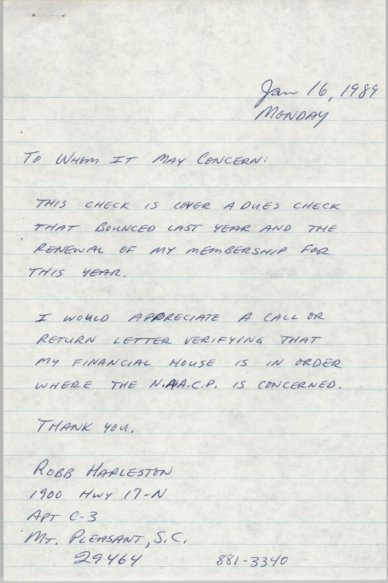 Letter from Robb Harleston, January 16, 1989